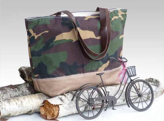 Camouflage Fern Green Leather Tote Bag  Large Diaper by dawnaparis, €49.00