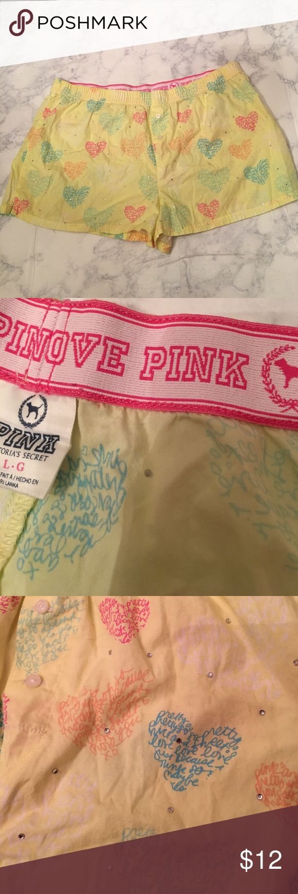 PINK Victoria Secret women's boxer shorts size L These are super cute women's Pink Victoria Secret Boxers, with rhinestones. No wear, excellent condition(no holes, stains, rips, holes, or odor).                                                    Waist:34inches, length: 12 inches PINK Victoria's Secret Intimates & Sleepwear Pajamas