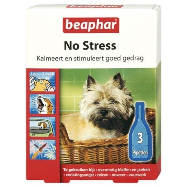 Beaphar No Stress druppels kalmeren, stimuleren goed gedrag en verminderen stress bij honden. Deze druppels bevatten Valeriaanextract; een natuurlijk middel met een kalmerende werking. Het micro-ingekapselde extract komt langzaam vrij en is langdurig werkzaam.