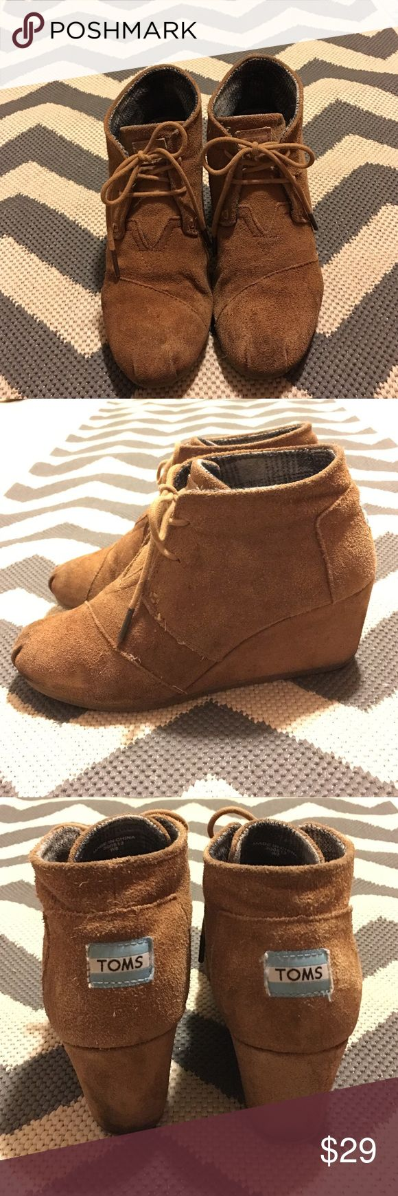 Toms Desert Wedge Tan Size 8 Worn and some staining around the bottom and toes. Super comfortable. Size 8. TOMS Shoes Ankle Boots & Booties