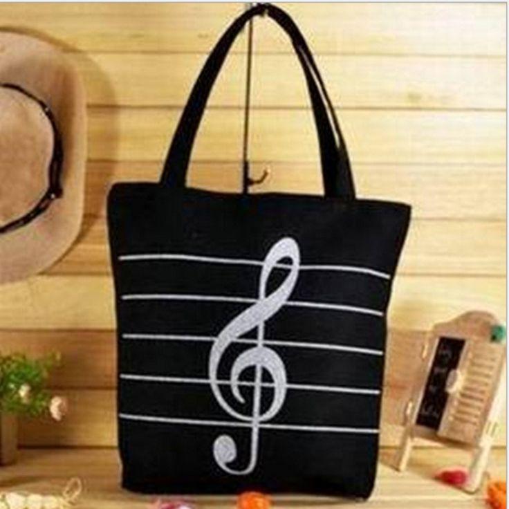 2017 New Women Girls Canvas Musical Shopping Shoulder Bag Notes Totes Handbag Large High Quality Free Shipping P317