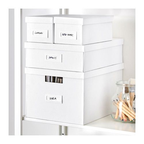TJENA Box with compartments, white white 10 ¾x13 ¾x4