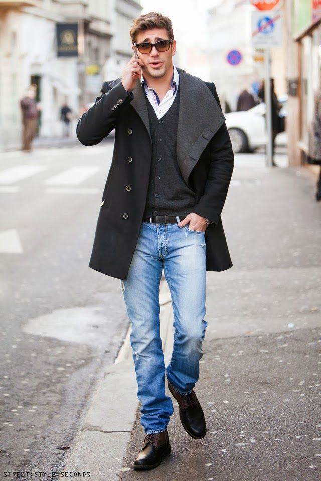 Men s winter street outfits, men talking on the phone