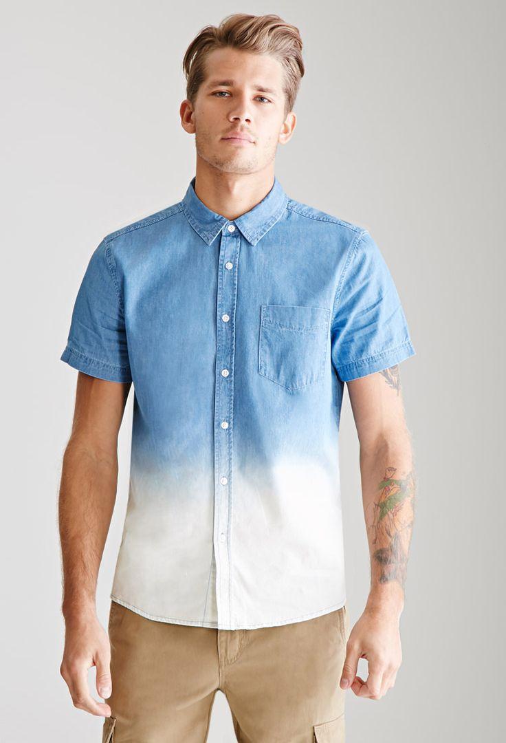 Dip dye chambray shirt 21 men f21men forever 21 for Mens dip dye shirt