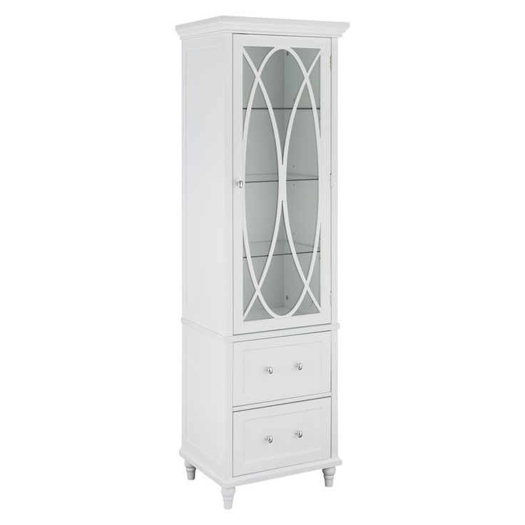 The ultimate balance in storage and class. The Bourbon Linen Tower with 2 drawers delivers ample storage in an elegant package with its three adjustable tempered glass shelves and two drawers. The white exterior is punctuated by its satin nickel plated hardware, giving this linen tower a timeless quality.