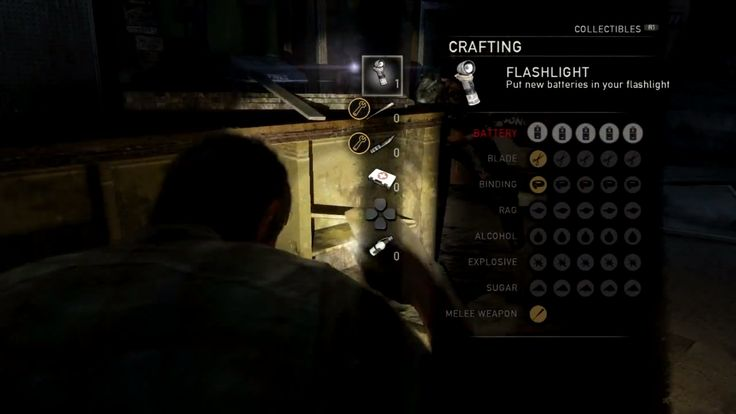 The Last of Us crafting interface