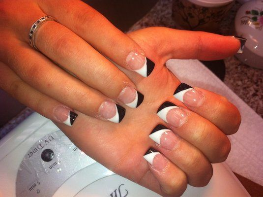 Black & White French Tip #manicure #nails Colour Nails & Spa - Hollywood, CA