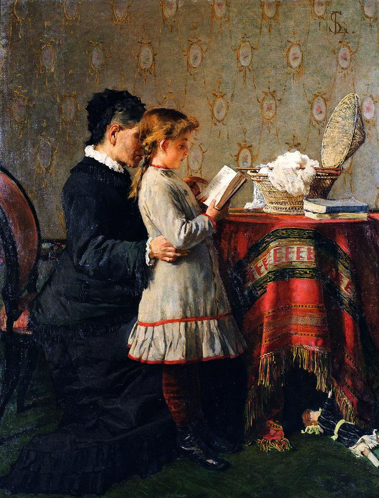 Silvestro Lega, La lezione della nonna, 1880-81 - Galleria d'Arte Moderna Achille Forti, Verona