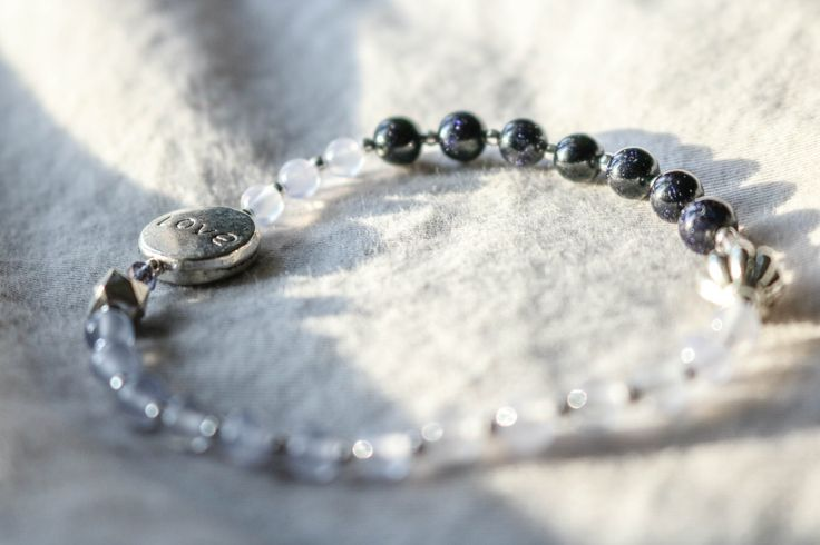"Minimalist Beaded Gemstone Bracelet With ""Love"" Charm, Jade, Blue Goldstone 
