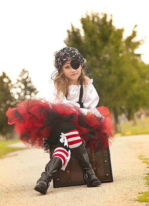 casper halloween costume with black tutu | Pirate Costume tutu black and red halloween by Zacharydickorydock