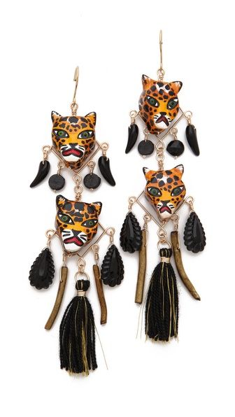 Grrr... Ha! Mercedes Salazar Leopard Face Drop Earrings