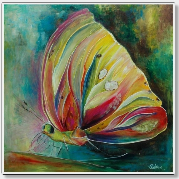 Butterfly    Colorado maat   80 x 80 cm.  Acryl op 3 D doek