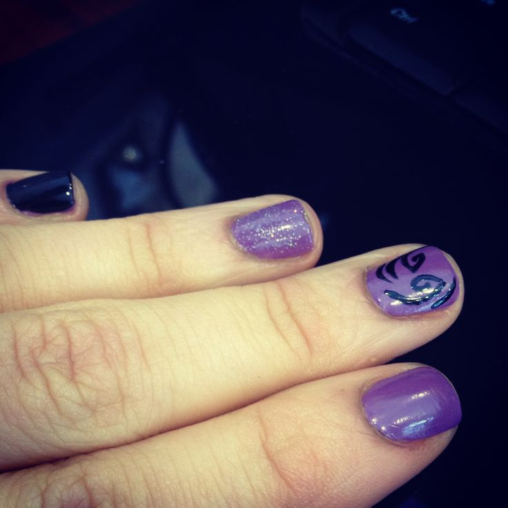 Purple with black and silver; natural nails