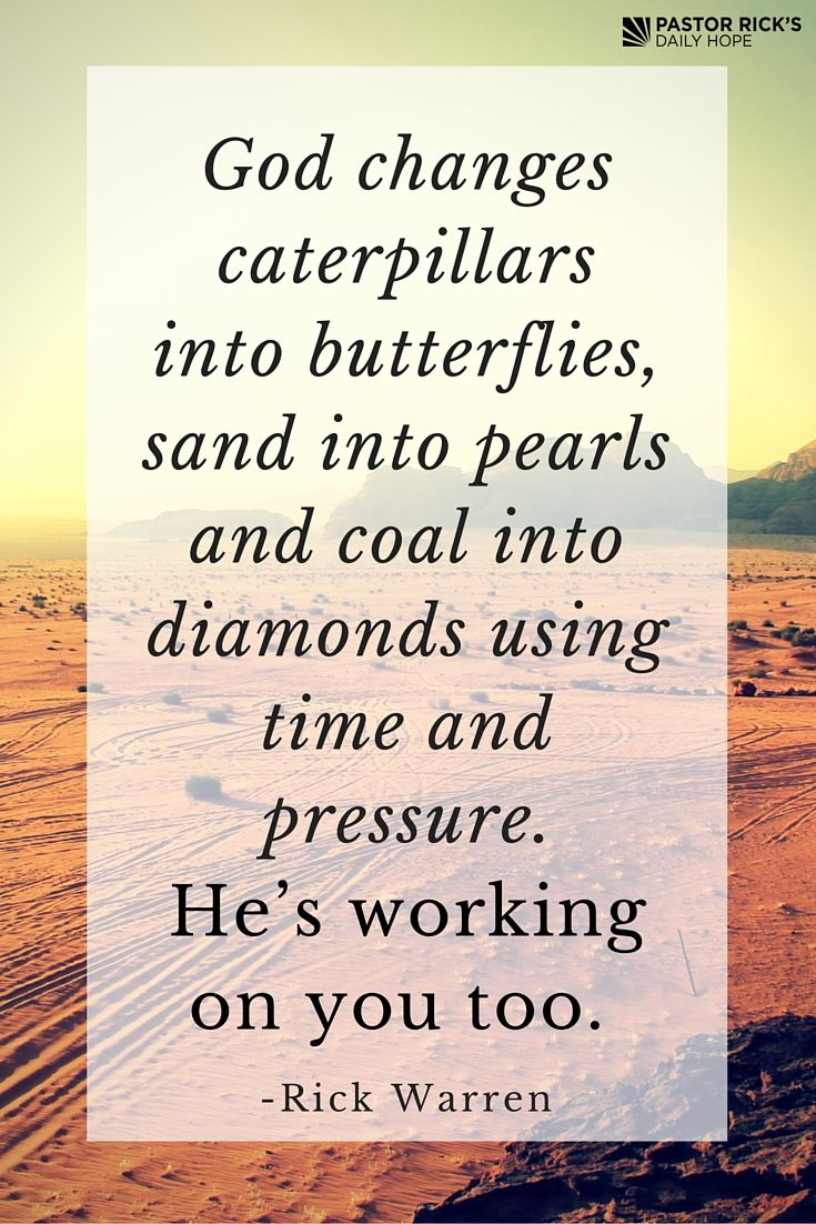 """God changes caterpillars into butterflies, sand into pearls and coal into diamonds by using time and pressure. He is working on you too."" - Rick Warren."