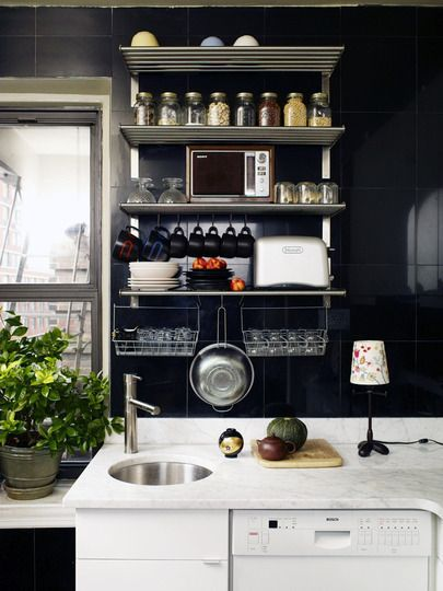 wall space You should do this on the empty wall in the kitchen. Put a cart under it for extra storage and prep space.