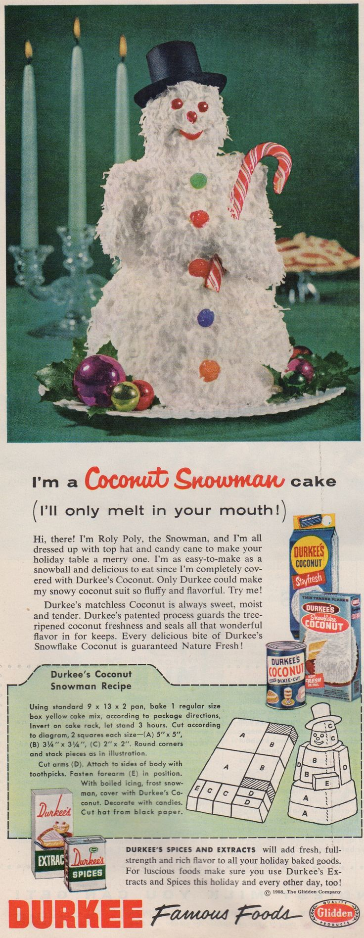 Coconut Snowman Cake Using A Box Mix From Durkee Spices Recipe Was In  Better Homes