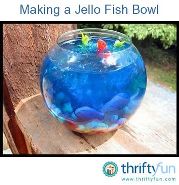 """Goldfish bowl Purple endive or fennel leaves 4 foliage in a tank gummy fish 1 pkg jelly beans blue jello Knox jello (clear) When gelatin is just starting to set (ie: it's not watery... set just enough to hold something in place) add your """"foliage"""" and fishies, placing them where you want them with strands of spaghetti http://www.thriftyfun.com/tf91655728.tip.html#feedback"""