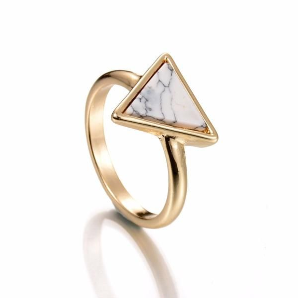 Delicate White Marble Triangle Ring
