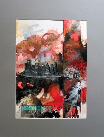 """My City Awaits"" (Huntress Hood) by Jala Prendes/Neon Skies Studio LLC. #painting #acrylic #ink #makeart #art #artist #painter #huntresshood #huntress #hood #claws #knives #dark #scary #wolf #mask #woman #womanartist #supportlocalart #houston #texas #city #skyline #skyscrapers #urban"