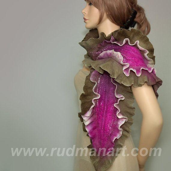 RESERVED Wool Silk Felted Art hand dyed scarf Crimson by RudmanArt