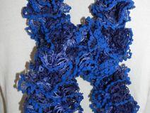Sciarpa volant blu  HANDMADE