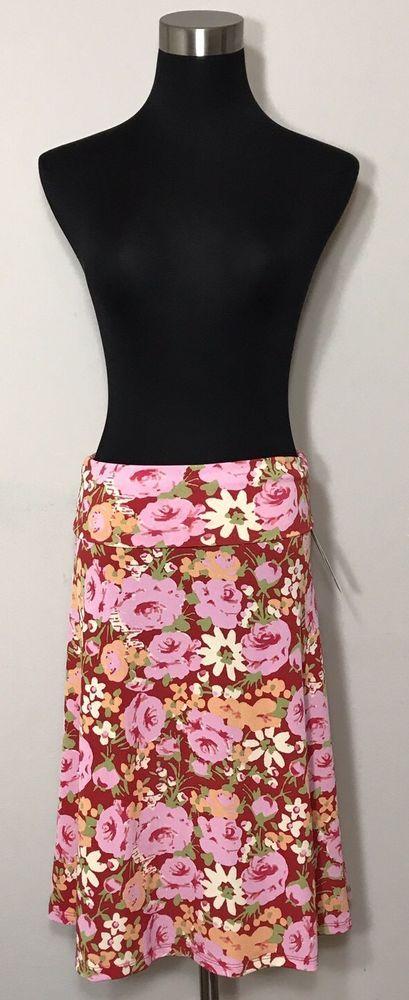 Lularoe Azure Skirt Size S Floral Pink Green Red Orange Flower Beige Stretchy  | eBay