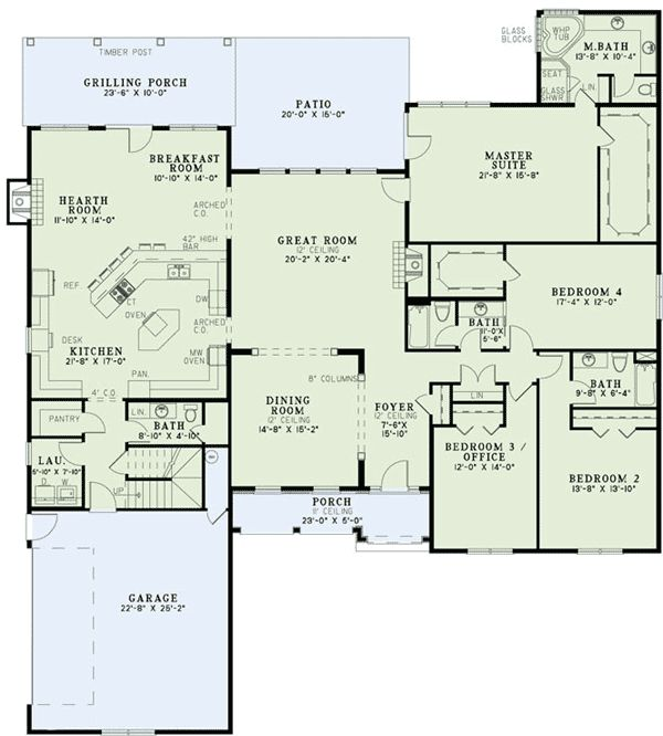 Interesting kitchen keeping room breakfast nook layout for Southern living house plans with keeping rooms