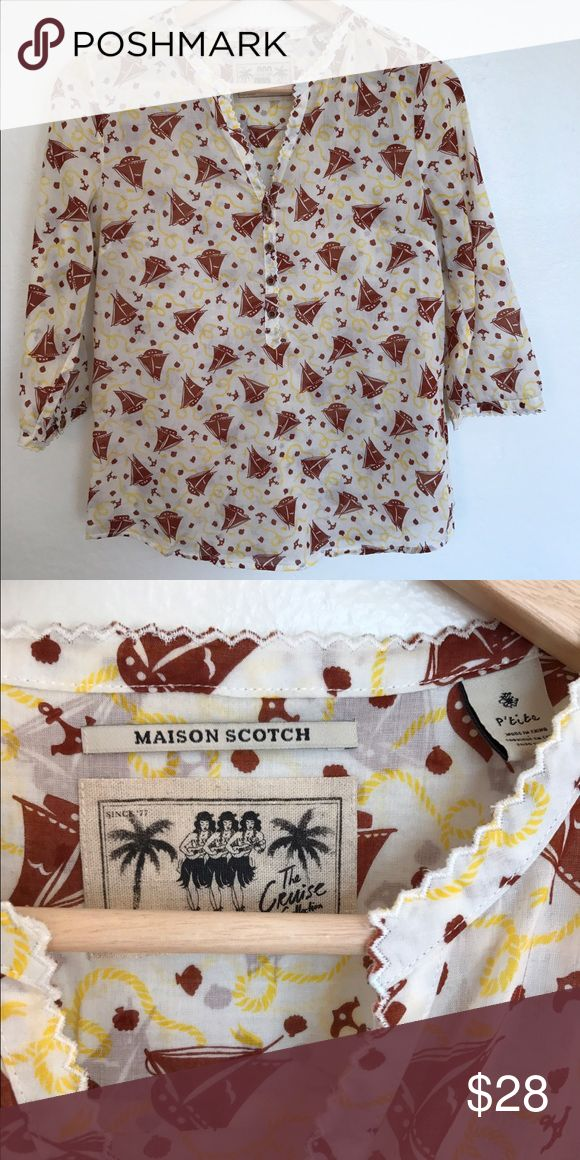 Scotch and Soda Vintage Inspired Nautical Blouse Super cute Scotch and Soda top with printed sailboats Scotch & Soda Tops Blouses