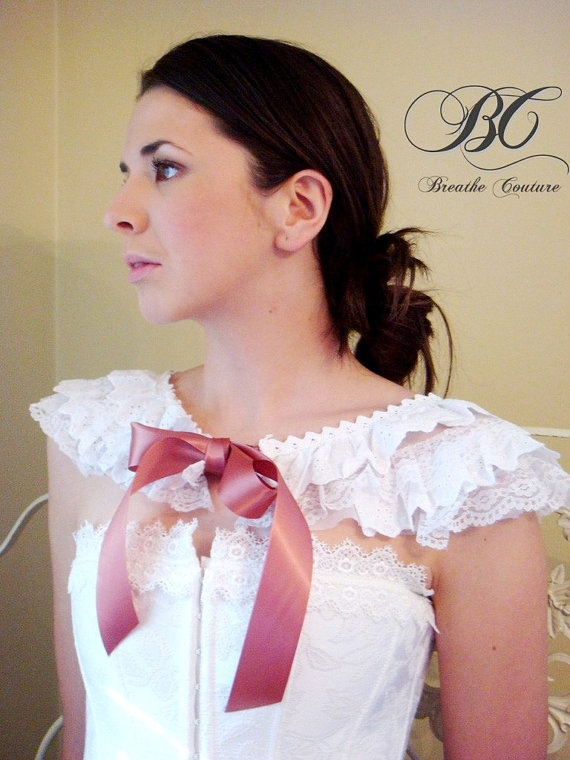 Handmade White Lace and Organza Ruffled Cowl Victorian collar shrug Free Shipping #fashion #apparel #handmade $60.00Antiques Rose, Free, Colors Satin, Collars Und, Capelet Collars, Fashion Apparel, Bridal Capelet, Collars Shrugs, Ruffles