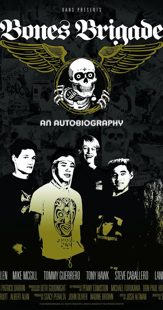 Directed by Stacy Peralta.  With Tony Alva, Steve Caballero, Fred Durst, Shepard Fairey. When six teenage boys came together as a skateboarding team in the 1980s, they reinvented not only their chosen sport but themselves too - as they evolved from insecure outsiders to the most influential athletes in the field.