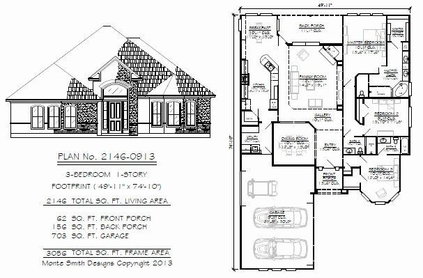 50 Foot Wide House Plans Fresh Narrow 1 Story Floor Plans 36 To 50 Feet Wide In 2020 House Plans Southern House Plans How To Plan