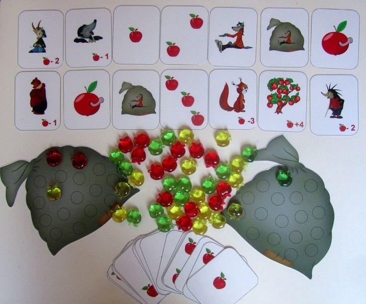 """...  сказке Сутеева """"Яблоко"""", о котором я писала ТУТ меня вдохновило на создание карточной игры.Если вы играли в Ветрянку от Djeco, то правила вам покажутся до боли знакомы....Данная игра развивает математические способности у ребенка, знакомит его с такими понятиями как вычитание и сложение, по-этому она столь привлекательна и любима нами. Ну чтобы не скучать и разнообразить наши игры в этой области ..."""