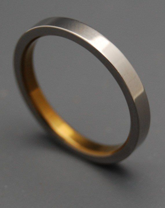 Slim Bronze Titanium Wedding Mens Bands