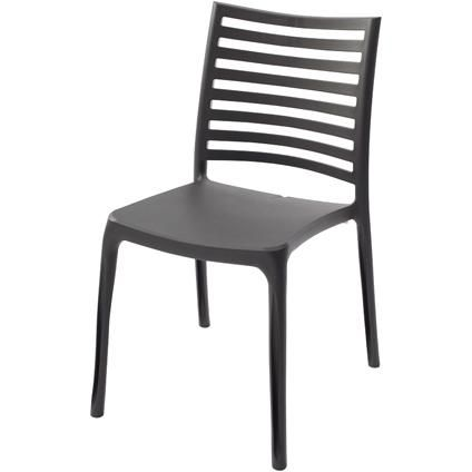 Chaise de jardin Grosfillex 'Sunday' résine anthracite
