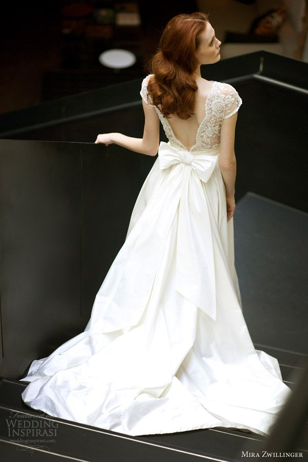 in <3 with this back!  mira zwillinger bridal 2013 2014 chloe wedding dress cap sleeves bow back train