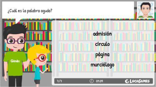 Intrusos en ortografía palabras agudas fichas, lista de palabras y juego on line