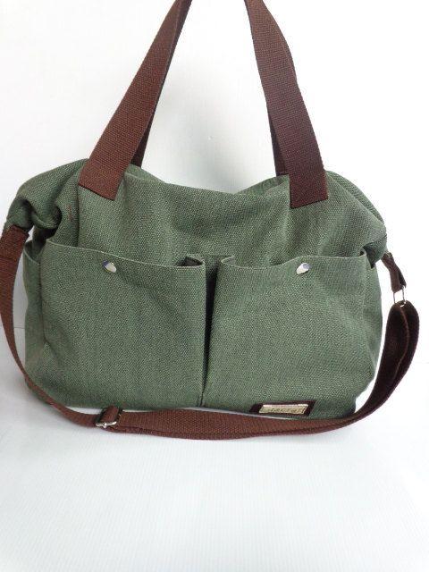 Green Shoulder bag Messenger Diaper bag-tote-large by litacraft