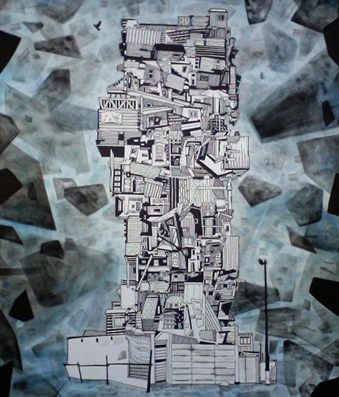 Francois Pretorius - Deconstructivist Shanti Tower (2015) #art #illustration #drawing #sketch #ink #abstract #african