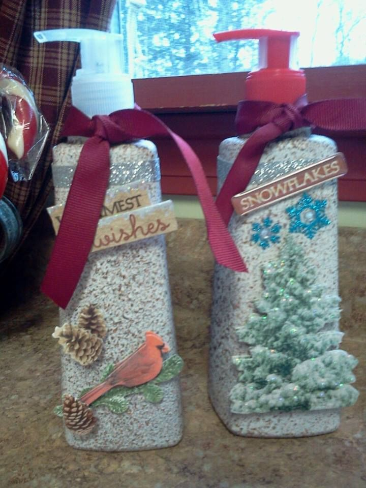 Purchased a couple hand soap pumps for a dollar each (gingerbread and peppermint scented). Spray painted with cream then Rust-oleum stone texture spray can finish. Once dry, embellished with seasonal stickers and bows. Great gifts!