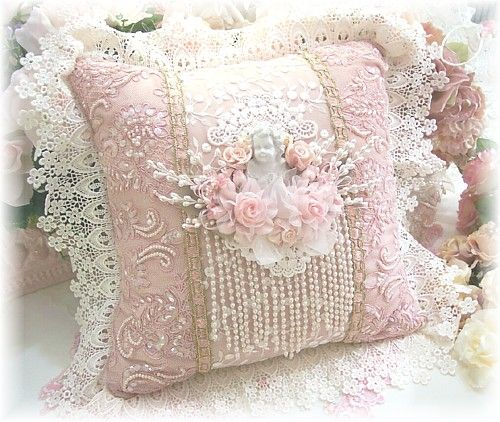 Image 2 of Pink Cherub Square Pillow very shabby chic Pinterest Pillows, Squares and Shabby
