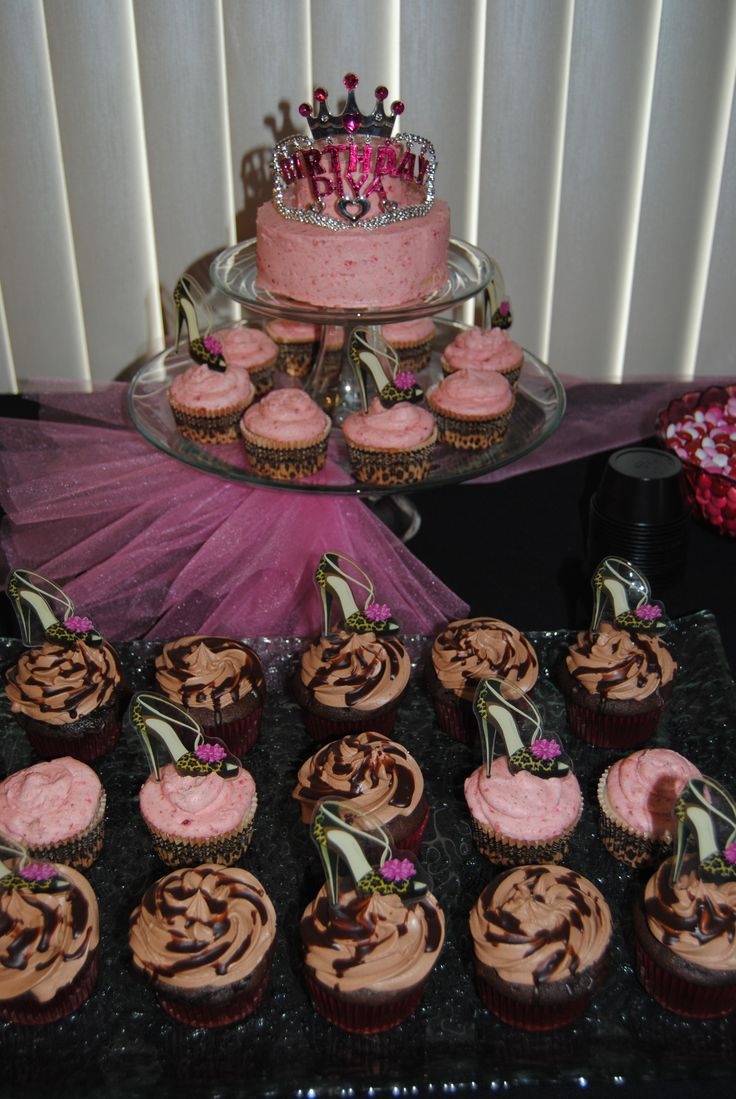 Birthday Diva Birthday Party... small birthday party... teen girl's birthday... pink/brown/black leopard print, EVENT PLANNING, CUPCAKES & MORE... https://www.facebook.com/media/set/?set=a.10151036397279817.450295.106597134816&type=1