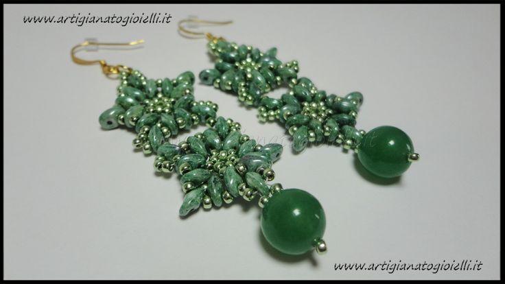 #superduo #twinbeads #beadwork #earrings http://youtu.be/PXnI4Vax_ww