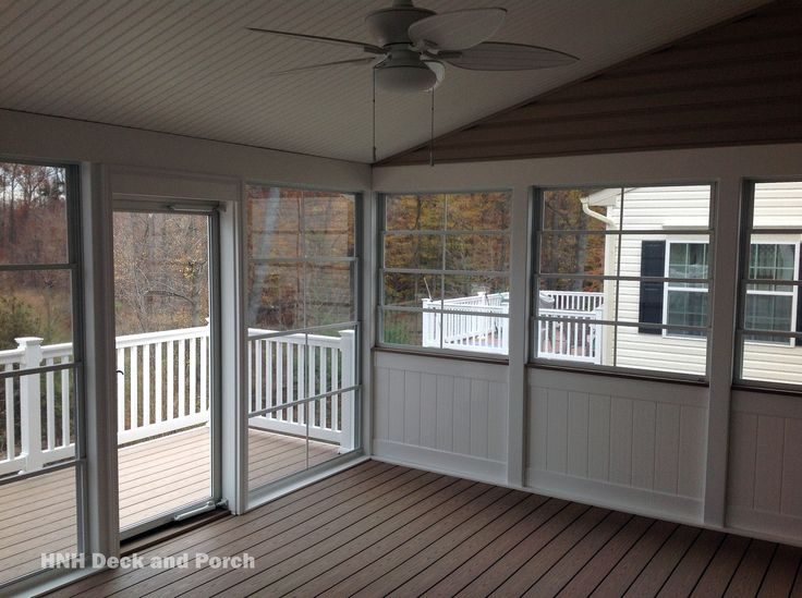 screened in deck with eze breeze sliding panels and tongue and groove knee wall - Screened Patio Ideas