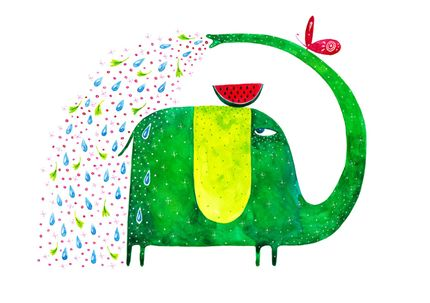 elephant, green elephant, shower, summer, watermelon, watercolor, butterfly, funny, sweet, friendly, illustration, madalina andronic, kids room, atelierul de print, cadou de arta, perfect gift, awesome present Green Elephant Madalina Andronic