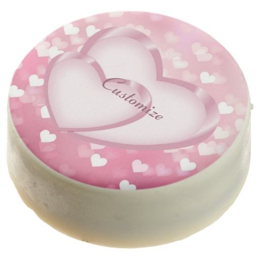 Pink Sparkle Hearts Sweetheart Chocolate Dipped Oreos