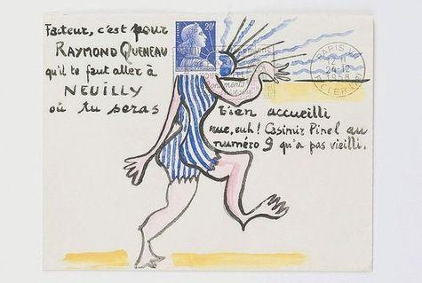 ¤ Jean Lescure, enveloppe illustréeenvoyés à Raymond Queneau. Fonds Oulipo