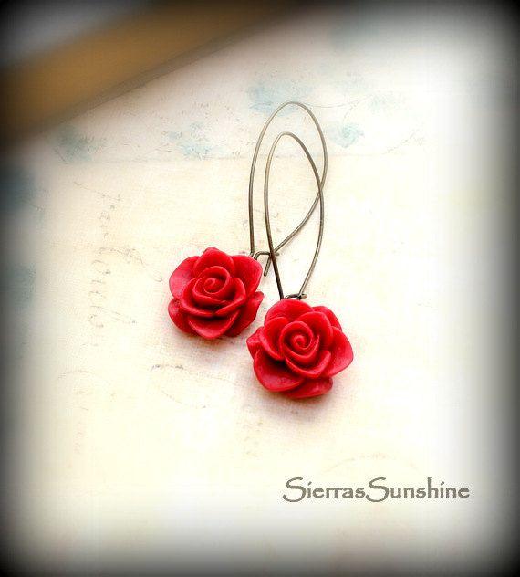 Rosso Natale orecchini, fiori, Rose rosse, orecchini fiore, gioielli inverno Natale tendenze, invernali, per lei on Etsy, 10,58€