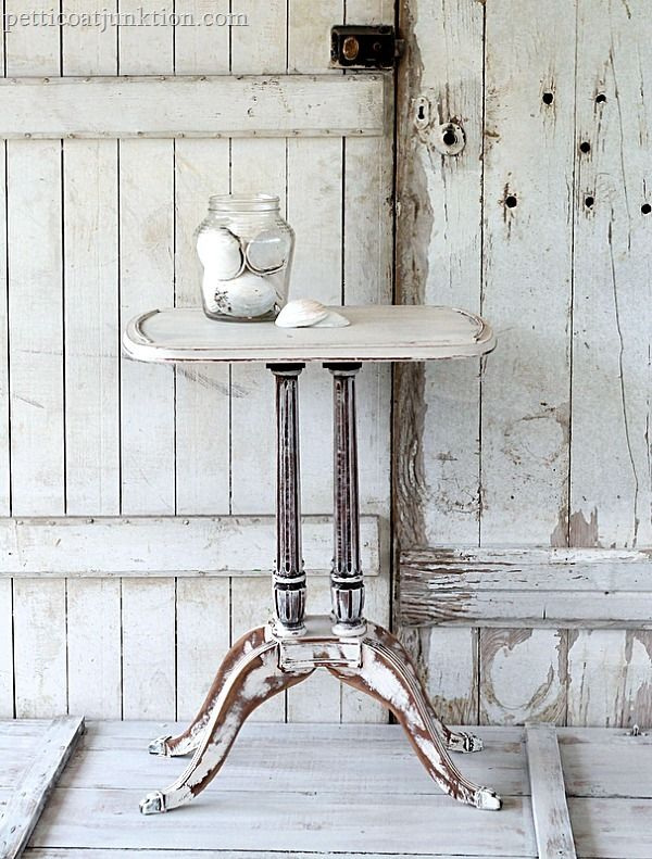 distressed shabby white table by Petticoat Junktion