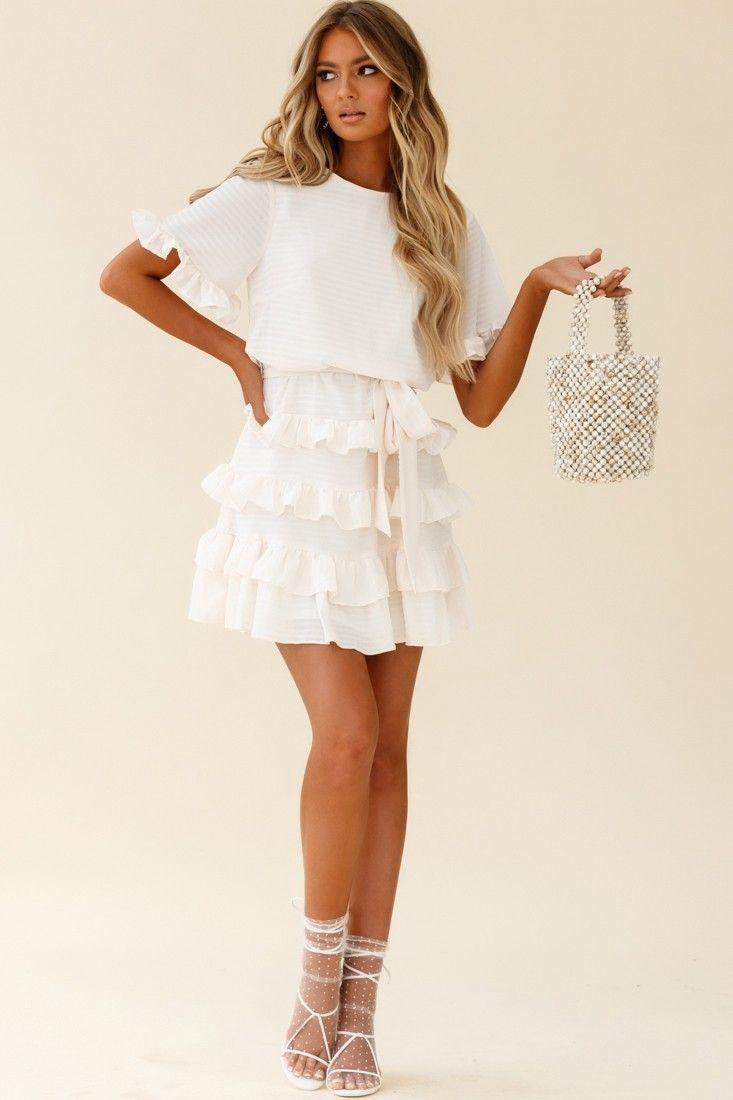 Zipporah Short Sleeve Layered Ruffle Dress Ivory In 2021 Layered Ruffle Dress Dresses Ruffle Dress [ 1100 x 733 Pixel ]