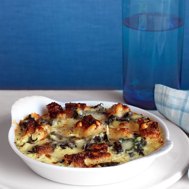 Spinach and Cheddar Strata | Recipe | Vegetarian Dinners, Spinach and ...